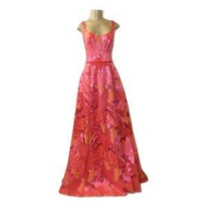 Marchesa orange and pink floral gown